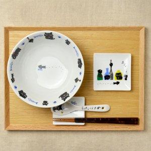 可愛い食器 シンジカトウ ラーメンどんぶり 猫のイラストNE-B
