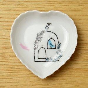 可愛い食器 シンジカトウ 小鳥のデザイン 小皿 TB ハートトレー