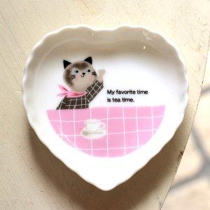 可愛い小皿 シンジカトウ 猫のイラストが可愛い MMハートトレーP