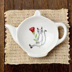 可愛い食器 シンジカトウ 黒猫シリーズ 陶器の小皿 PTティートレー B 美濃焼