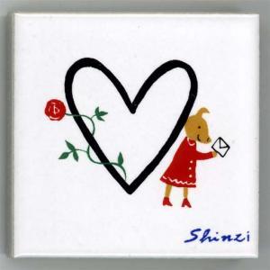 アルファベットタイル 45mm角 ハート  (Alphabet Tile 45mm Square Heart)