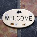 タイルプレート WELCOME(L)  (Uneven cats Tile Plate (L) WELCOME)