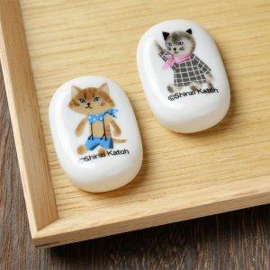 Shinzi Katoh  猫のイラストが可愛いミャウミャウシリーズ  陶器の箸置き 美濃焼