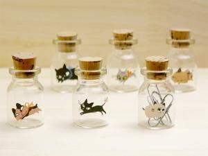 シンジカトウデザイン 猫のイラストが可愛い小瓶 UNプチコルクビンSET