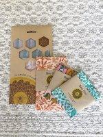 【食品ラップセット】Bee Eco Wrapビーズワックスラップ/3枚セット(S/M)