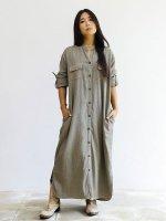 【Indigo Sea 2021】プランツシャツドレス/オリーブグレイ/F