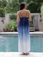 【Indigo Sea 2021】オーガニックコットンイージーゴーイング ドレス/ブルーグラデーション/F