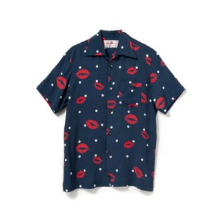 <br>Aloha Blossom<br>【アロハブロッサム】<br>KISS<br>SHIRTS S/S NVY<br>