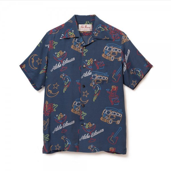 <br>Aloha Blossom【アロハブロッサム】<br>NEON<br>S/S SHIRT NVY<br>sold!!!