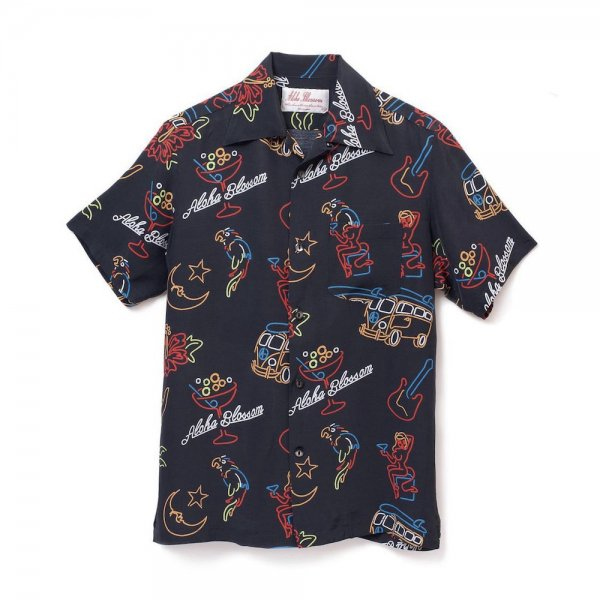 <br>Aloha Blossom【アロハブロッサム】<br>NEON<br>S/S SHIRT BLK<br>sold!!!