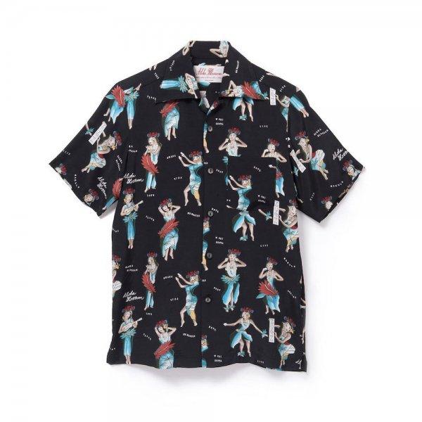 <br>Aloha Blossom【アロハブロッサム】<br>HULA GIRL<br>SHIRTS S/S BLK<br>sold!!!