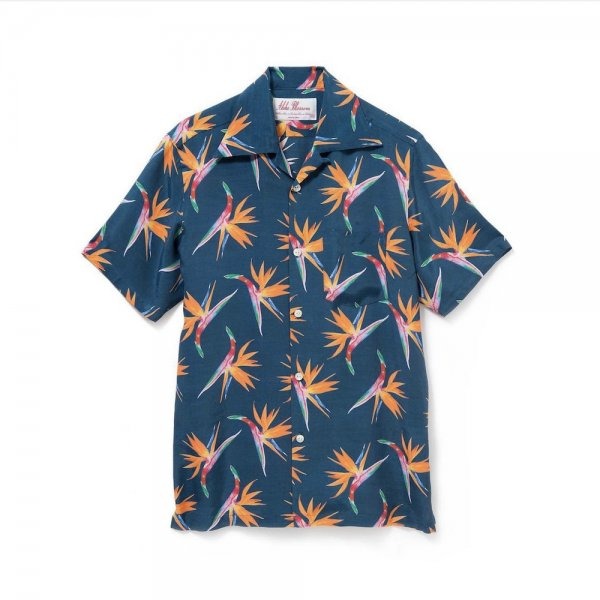 <br>Aloha Blossom<br>【アロハブロッサム】<br>BIRDS OF PARADICE<br>SHIRTS S/S NAVY<br>