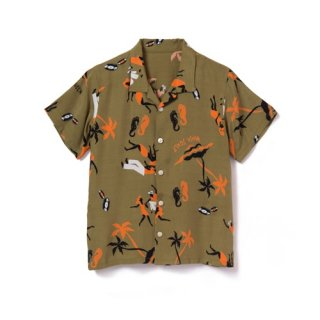 "<br>Aloha Blossom<br>【アロハブロッサム】<br> ""KING&QUEEN""<br>KIDS<br >SHIRTS KHAKI<br>"