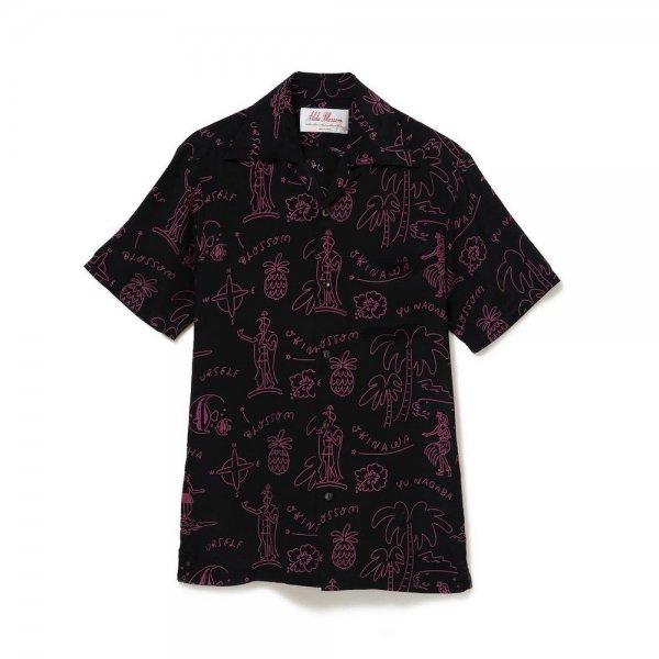 <br>Aloha Blossom【アロハブロッサム】<br>HAWAIIAN<br>SHIRTS/S BLK×PNK<br>sold!!!