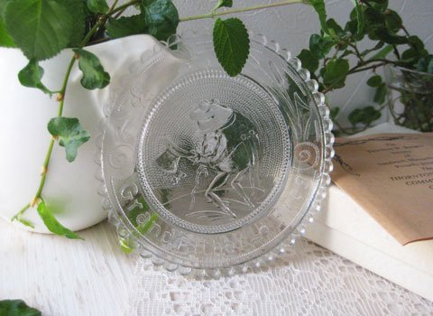 Vintage Grand Father Frog Glass Plate Clear