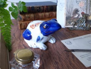 Blue Face Frog Porcelain Figure