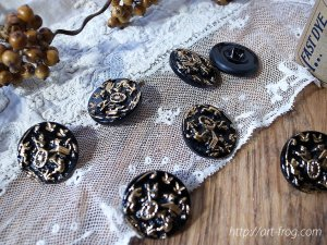 Frog Button from Czech Republic Black & Gold