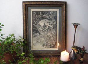 Antique Frogs & FairiesPrint with Frame