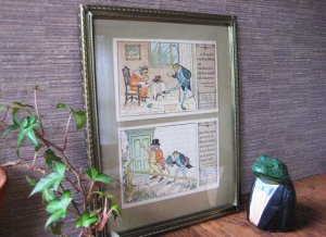 Antique Frog Victorian Postcards with Vintage Frame