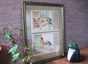 Antique Frog Victorian Postcards with Vintage Frame