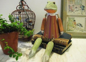 Wood & Metal Handcrafted Frog Girl Figure