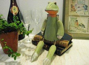 Wood & Metal Handcrafted Frog Boy Figure