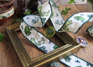 Frog Fabric Ribbon with Wire