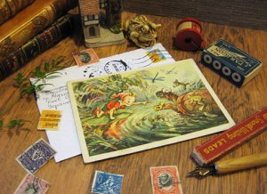 Vintage Post Card Frog & Turtle from Russia