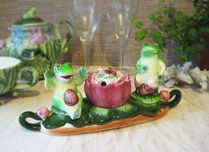 Vintage Frog Salt & Pepper,Musterd Jar