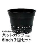 【在庫切れ中】ネットカップ(円形)6inch 3個セット・Hydrofarm製