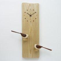 【受注制作】 尾を振る小鳥の時計 2羽