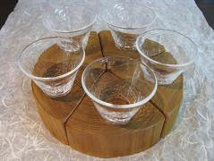 木グラス5個セット 小 ヒビ