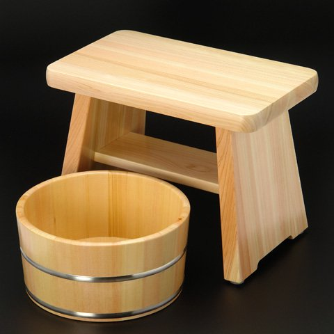 ひのき風呂椅子(中)・湯桶(ステンレスタガ)セット