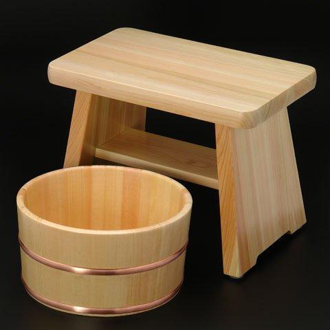 ひのき風呂椅子(中)・湯桶(銅タガ)セット