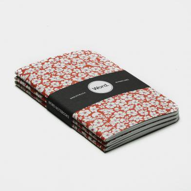 word notebooks ワード ノートブックス red floral 3 pack メモ帳