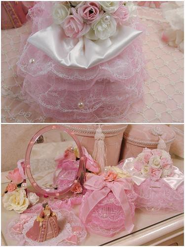 ウェットティッシュケース  ローズリボン ピンク 【姫デコ】の画像