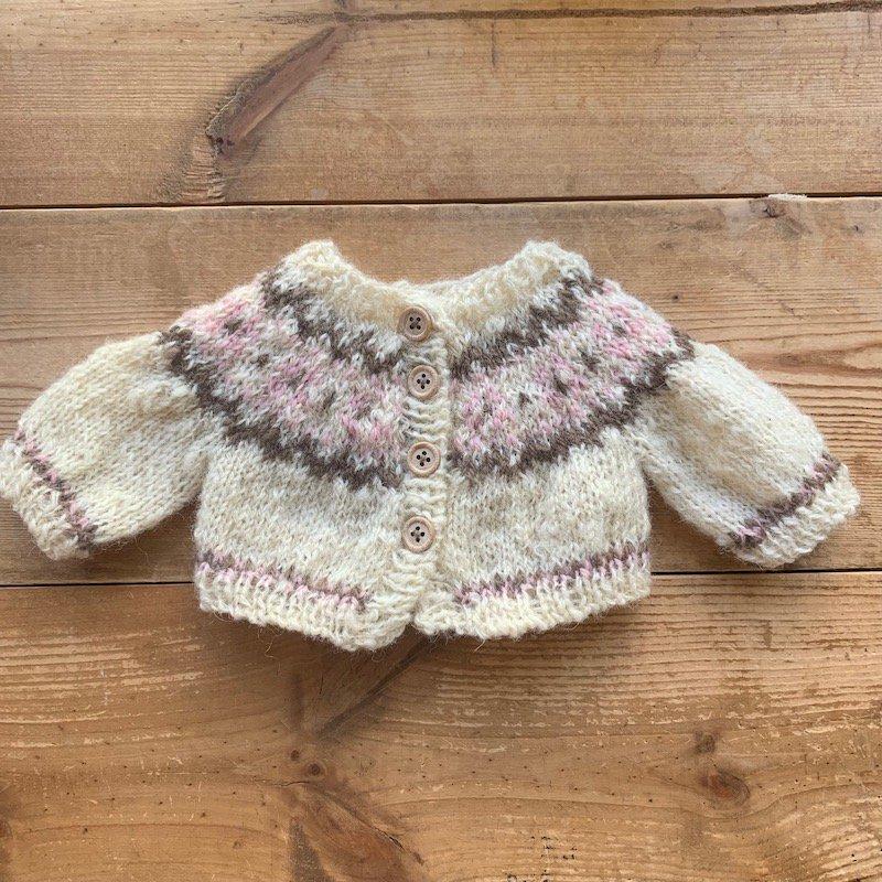 30cm模様編みカーディガンパターン