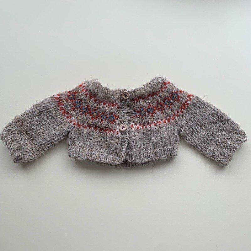 40cm模様編みカーディガンパターン