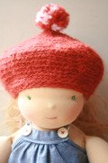 red knit beret for 40cm doll