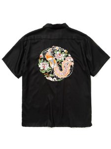 <img class='new_mark_img1' src='https://img.shop-pro.jp/img/new/icons43.gif' style='border:none;display:inline;margin:0px;padding:0px;width:auto;' />CALEE (キャリー) Embroidery S/S rayon shirt (S/S オープンカラー レーヨンシャツ) Black