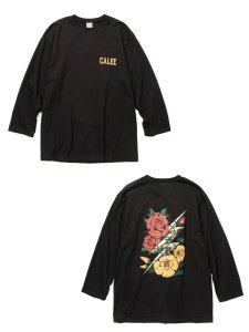 <img class='new_mark_img1' src='https://img.shop-pro.jp/img/new/icons1.gif' style='border:none;display:inline;margin:0px;padding:0px;width:auto;' />CALEE (キャリー) 8 Length sleeve thunderbolt set in t-shirt (8分丈 セットインスリーブ Tシャツ) Black