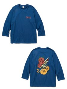 <img class='new_mark_img1' src='https://img.shop-pro.jp/img/new/icons1.gif' style='border:none;display:inline;margin:0px;padding:0px;width:auto;' />CALEE (キャリー) 8 Length sleeve thunderbolt set in t-shirt (8分丈 セットインスリーブ Tシャツ) Blue