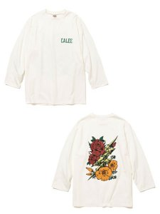 <img class='new_mark_img1' src='https://img.shop-pro.jp/img/new/icons1.gif' style='border:none;display:inline;margin:0px;padding:0px;width:auto;' />CALEE (キャリー) 8 Length sleeve thunderbolt set in t-shirt (8分丈 セットインスリーブ Tシャツ) White