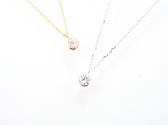 一粒ダイヤモンド ネックレス 18K 覆輪留め 【50%OFF!セール】