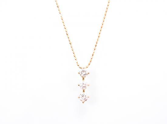 スリーストーン(3連)ダイヤモンド ネックレス ピンクゴールド 【60%OFF!セール】