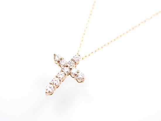 18K ダイヤモンド クロス ネックレス ピンクゴールド 【60%OFF!セール】