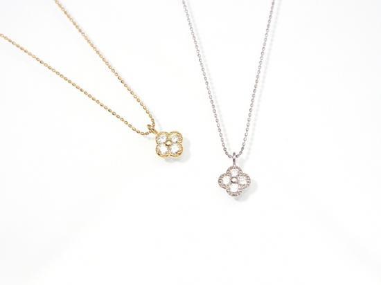 18K フラワー ダイヤモンド ネックレス ...