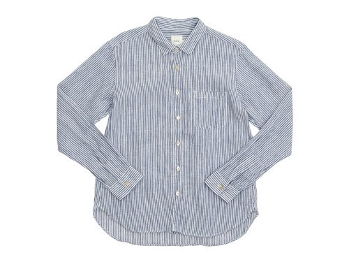 RINEN 80/1リネン平織ストライプ レギュラーカラーシャツ 05シロ x ネイビー〔メンズ〕