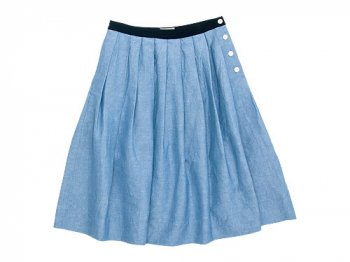 MARGARET HOWELL PLAIN WEAVE LINEN COTTON SKIRT 110BLUE 〔レディース〕