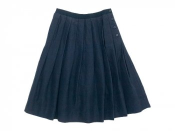 MARGARET HOWELL PLAIN WEAVE LINEN COTTON SKIRT 120NAVY 〔レディース〕